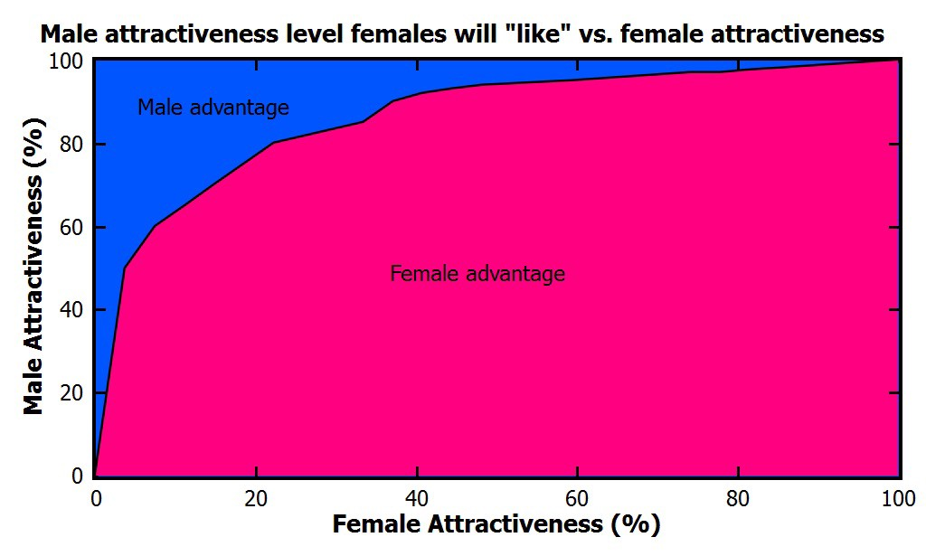 Male Attractiveness Level Females Will Like Vs Female Attractiveness